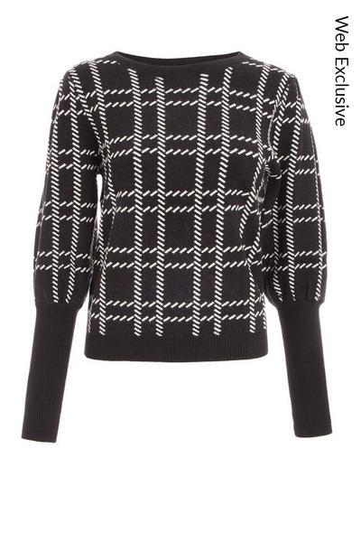 Black & White Check Knitted Jumper